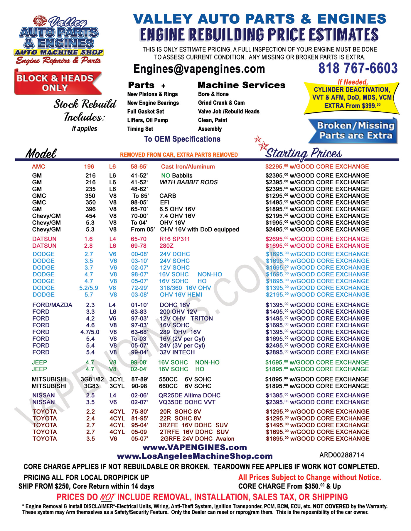 Engine Rebuild Price Cost Sheet