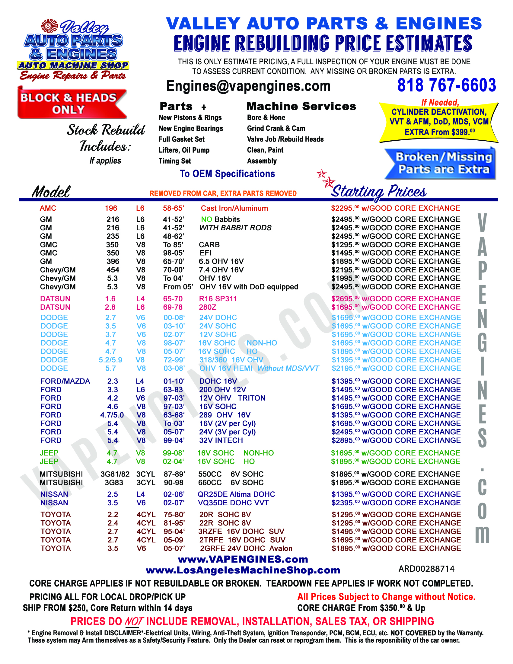 Ford Engine Rebuilding Price Cost Estimate Sheet