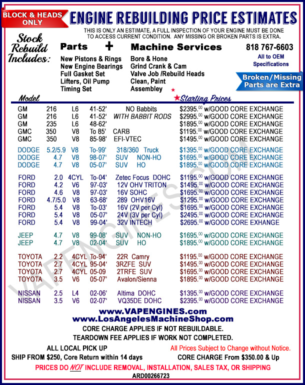 Engine Rebuilding Price Cost Estimates in Los Angeles