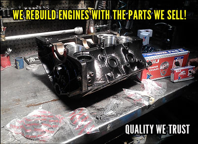 we rebuild engines with parts we sell