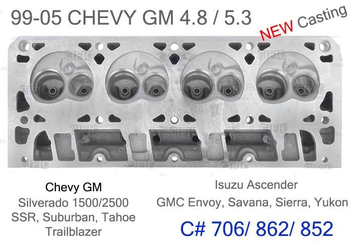 99-05 NEW CHEVY GMC 4 8/5 3 BARE CYLINDER HEAD