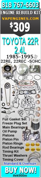85-95 Toyota 22R, 22RE, 22REC 2 4 8V ENGINE REBUILD KIT